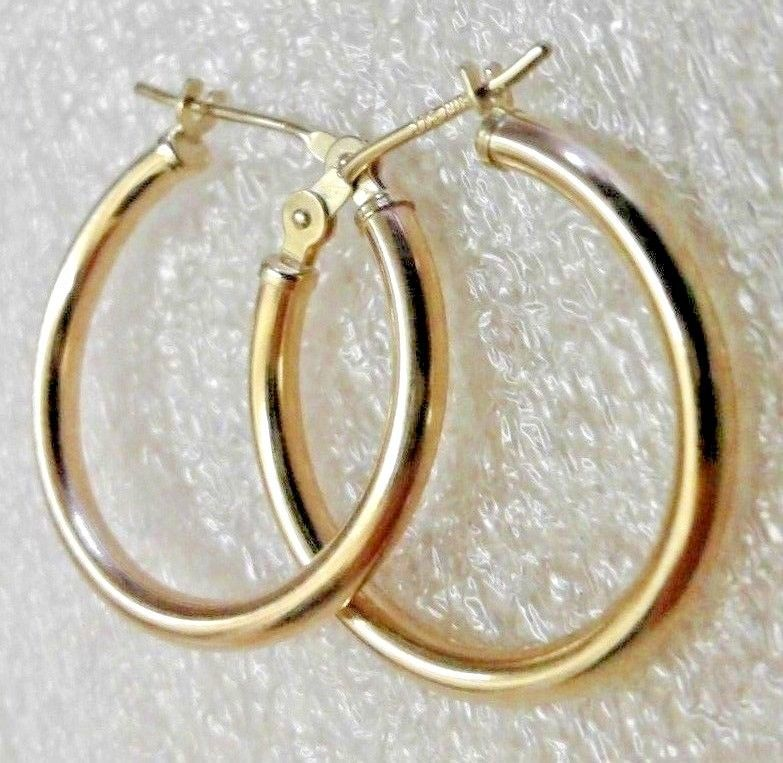 326470fd8 Solid 14k Yellow Gold Earrings Plain 3/4