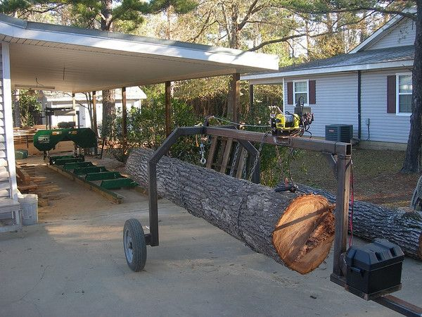 homemade log loading apparatus for the Woodland Mills