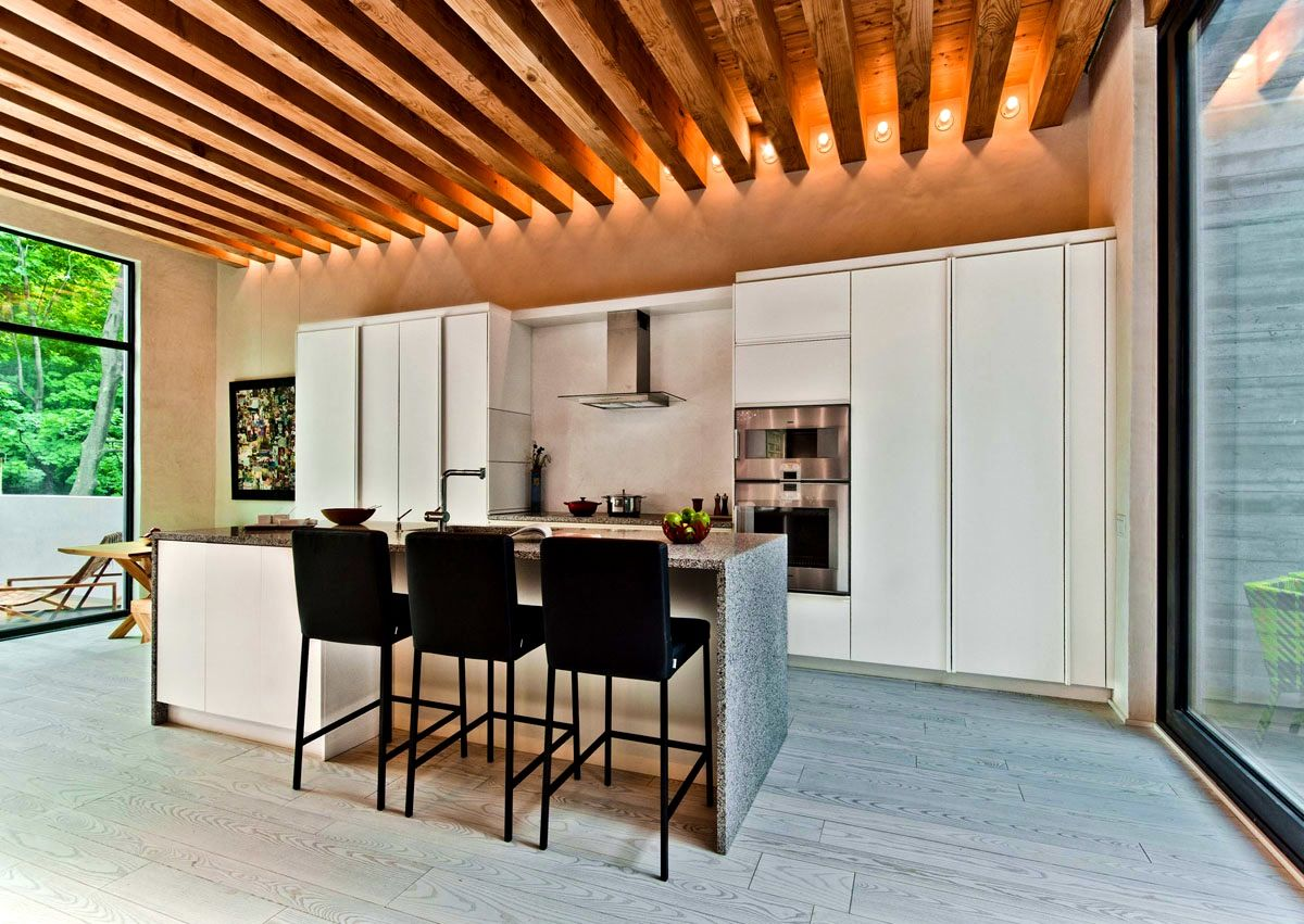 ApartmentsEndearing Ecological House In Montreal Contemporary Exposed Beams Feng Shui Montreal Mesmerizing Exposed Beams Ceiling Over Stairs Kitchen Area Rustic Low Roof In Lvl Lighting Wooden To Weather Painted Feng Shui Living Room Cost Insulation Painting Steel Diy Basement