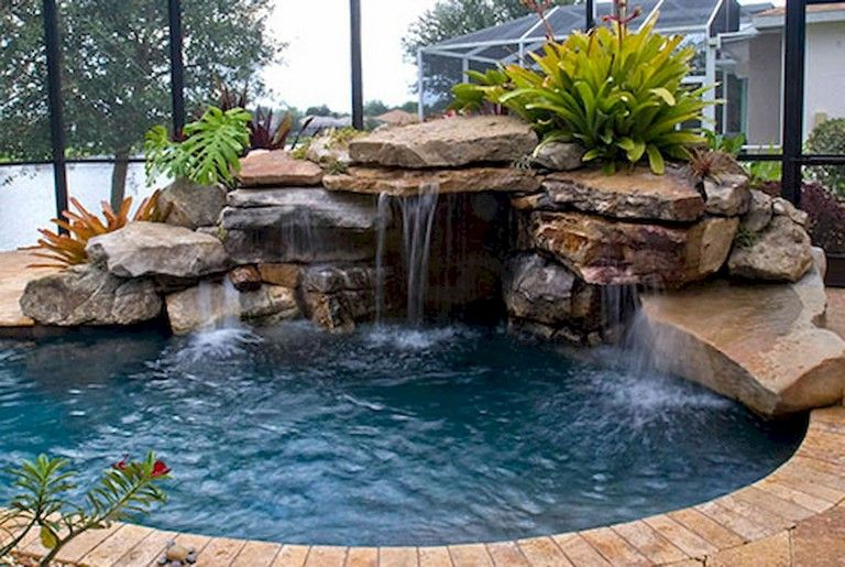82 Swimming Pool Ideas Small Backyard Page 73 Of 84 Swimming Pool Waterfall Backyard Pool Landscaping Pool Landscaping