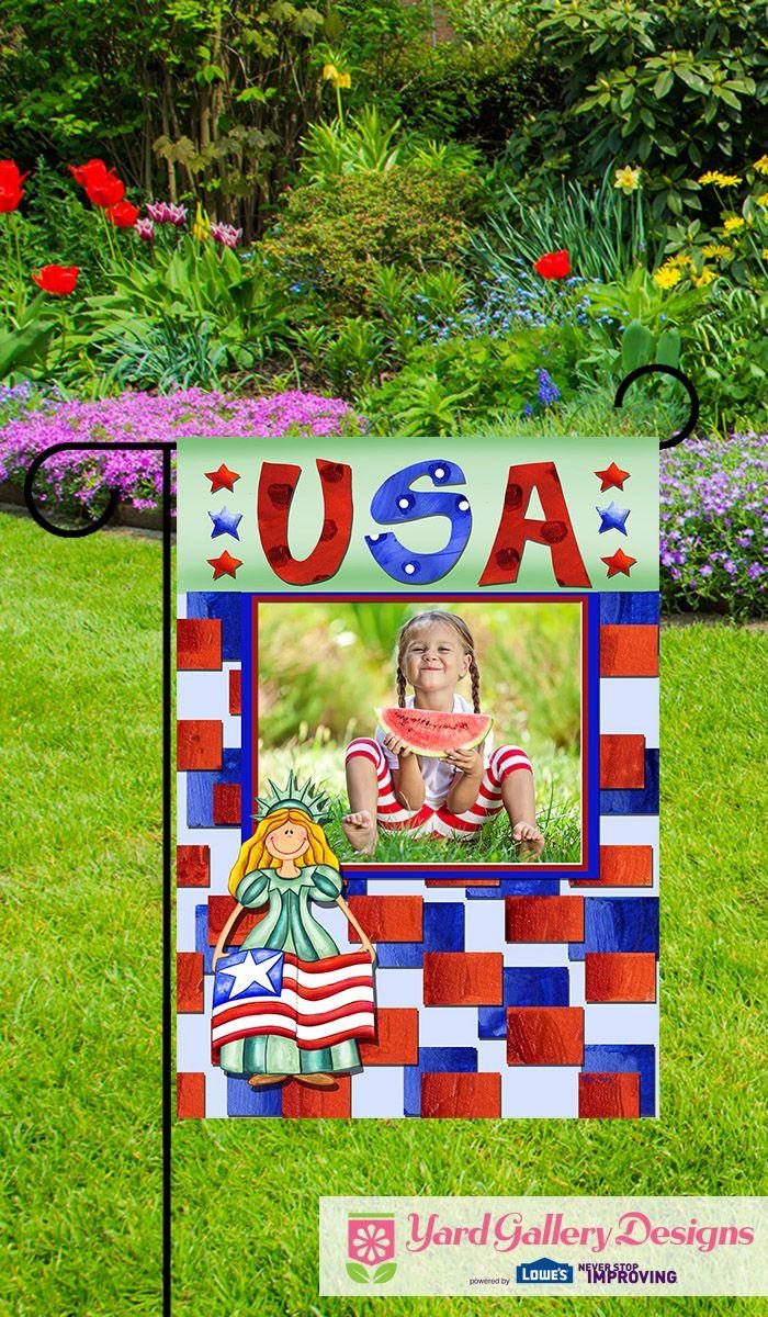 A Joyful Independence Day Celebration Flag Customized With Your Photo Custom Garden Flags Photo Garden Flag Gallery Design
