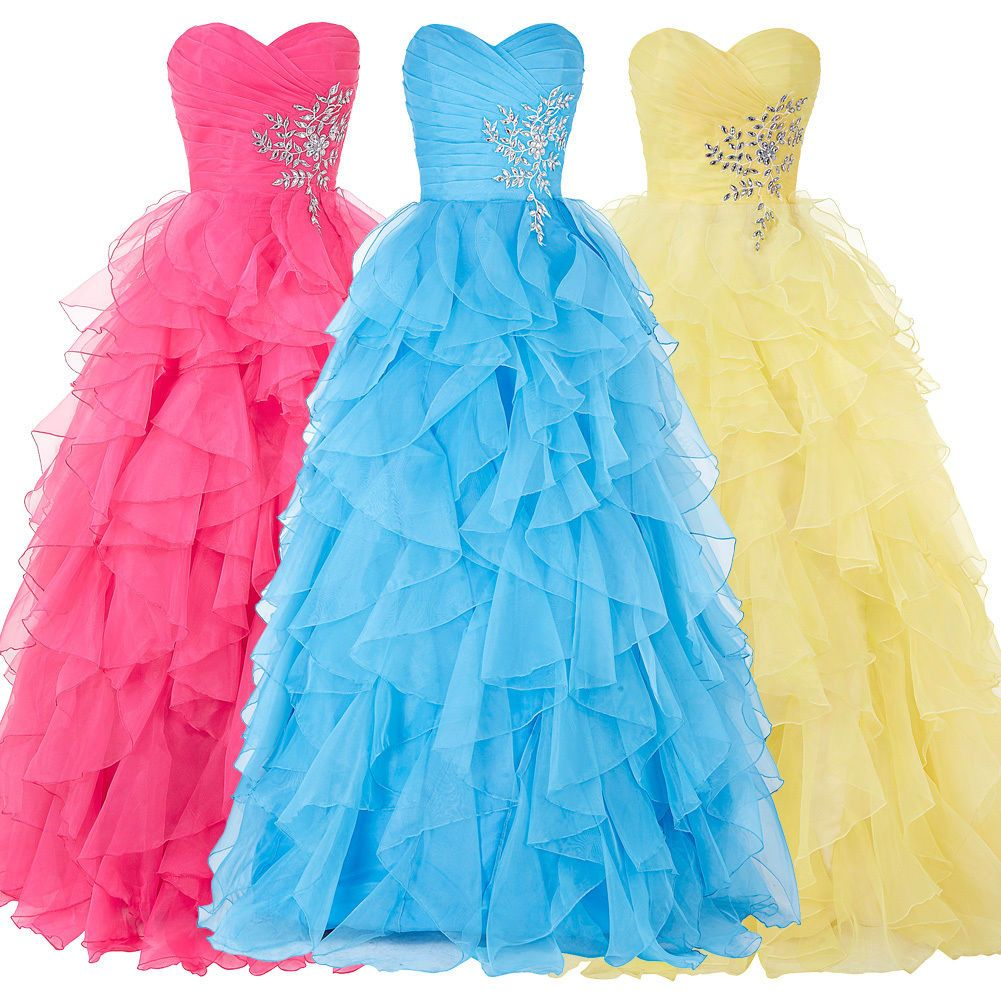 Stock strapless organza princess ball party masquerade gown prom