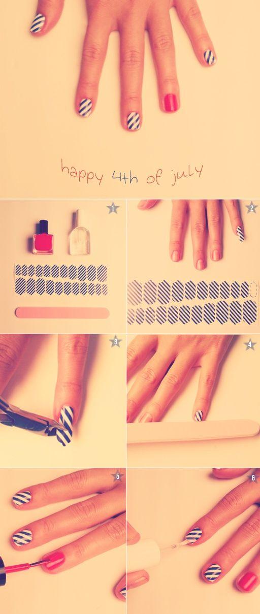 Too cute! #stipes #fuschia #nailart | Nail Art to Love | Pinterest ...