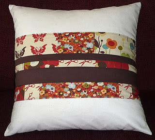 Envelope style pillow cover with link to tutorial.