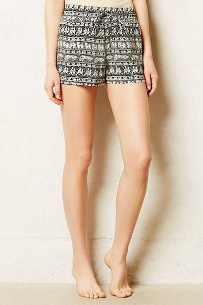 elephant print silk sleep shorts