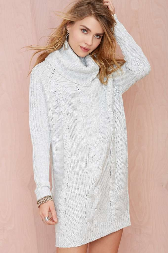 11666a8081b Nasty Gal Rise   Shine Turtleneck Sweater Dress - Sweaters ...