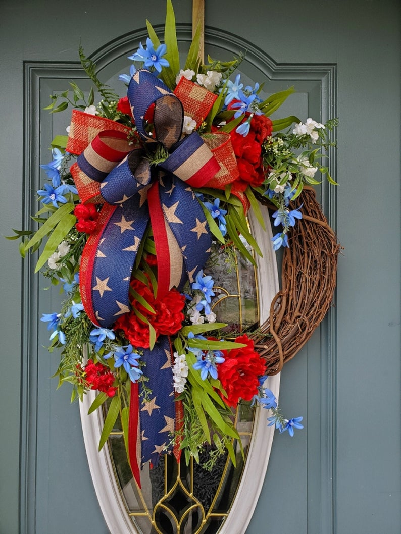 Photo of Patriotic wreath for front door / Stars and Stripes wreath / 4th of July wreath / Americana wreath / Patriotic floral wreath / Summer wreath
