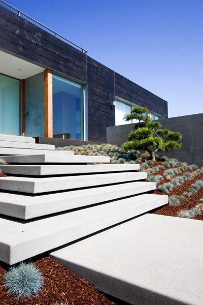 Floating Concrete Steps Architecture Courtyard Landscape Steps   Floating Concrete Steps Designs   House   Sidewalk   Front Door   Stair Railing   Backyard