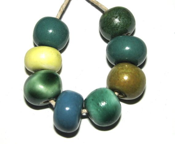 8 x Handmade Ceramic Beads Set Blue Teal Green Lemon