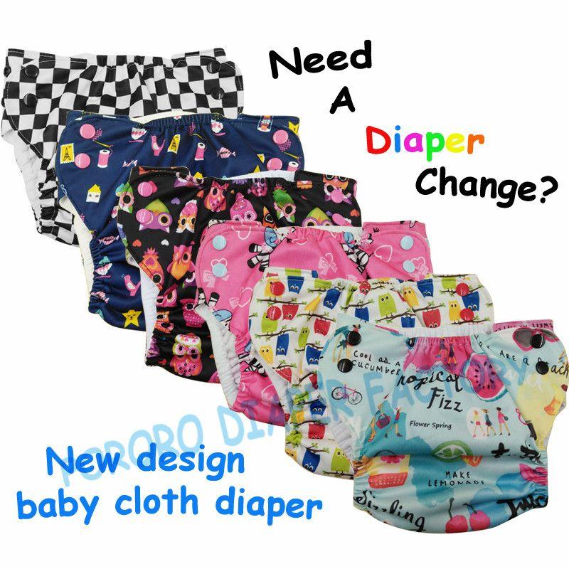 Trasporto libero di disegno Unico del bambino scatta riutilizzabili pannolino del panno con il lato di apertura, PUL lavabile pannolino della tasca con pulsanti di colore