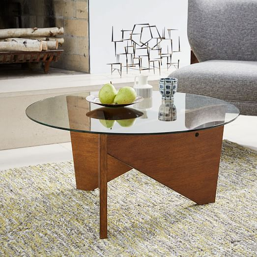 Sail Coffee Table WalnutGlass Coffee Living rooms and