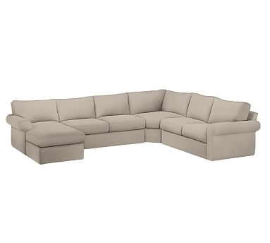 Pearce Slipcovered Right Arm 4 Piece Wedge Sectional Down