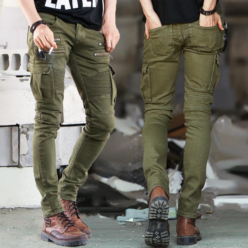 Jeans Elastic Fold Zipper Mens Jeans Skinny Biker Jeans Biker Jeans Men Elastic Jeans