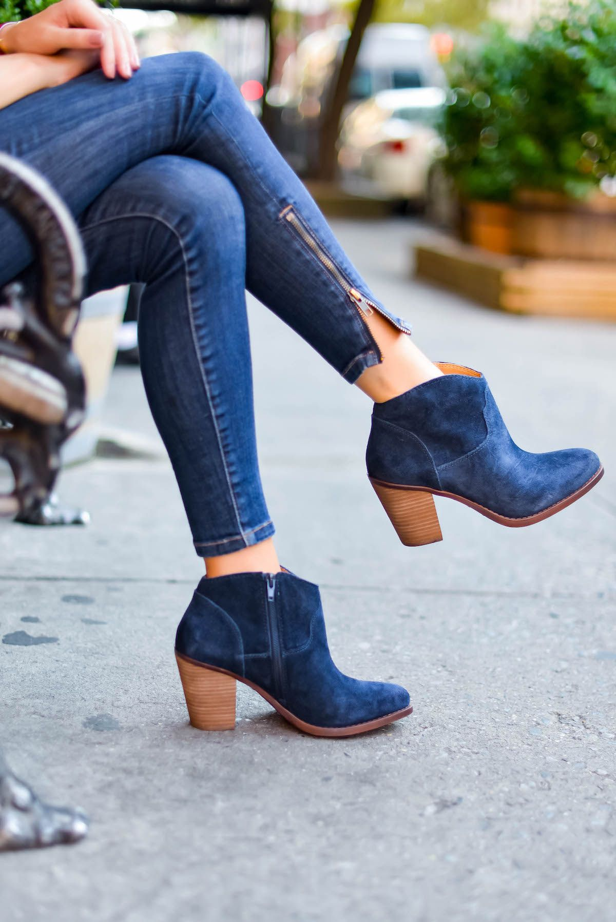 cf952227e024 Lucky Brand Navy Booties via @katiesbliss | Accessories | Shoes ...