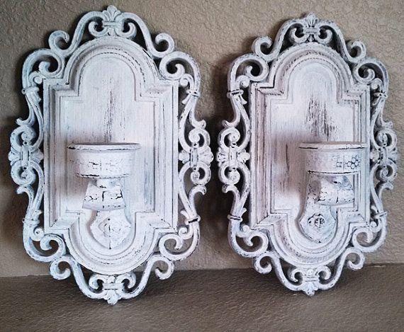 Set Of 2 Shabby White Ornate Wall Sconces Upcycled Etsy Shabby White Shabby Chic Candle Wall Candles