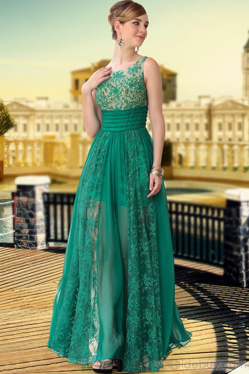 Fresh scoop neck aline lace empire waist long evening dress prom