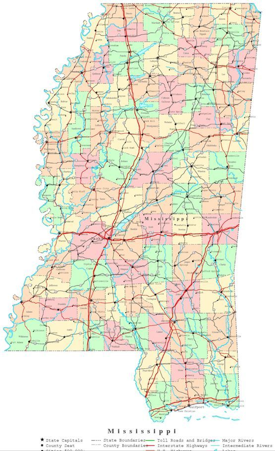 map of mississippi counties with names Printable Map Of Mississippi State Ms Color Map Map Printable map of mississippi counties with names