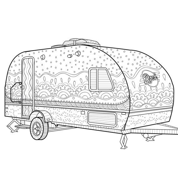 Camper Caravan Coloring Page Zentangle Camping Book