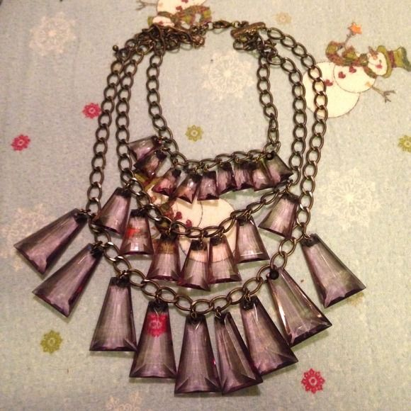Chunky Tier Layered Necklace Cute + Stylish Chunky Tier Layered Necklace, Rustic Necklace with Purple glass like charms  Hive & Honey Accessories