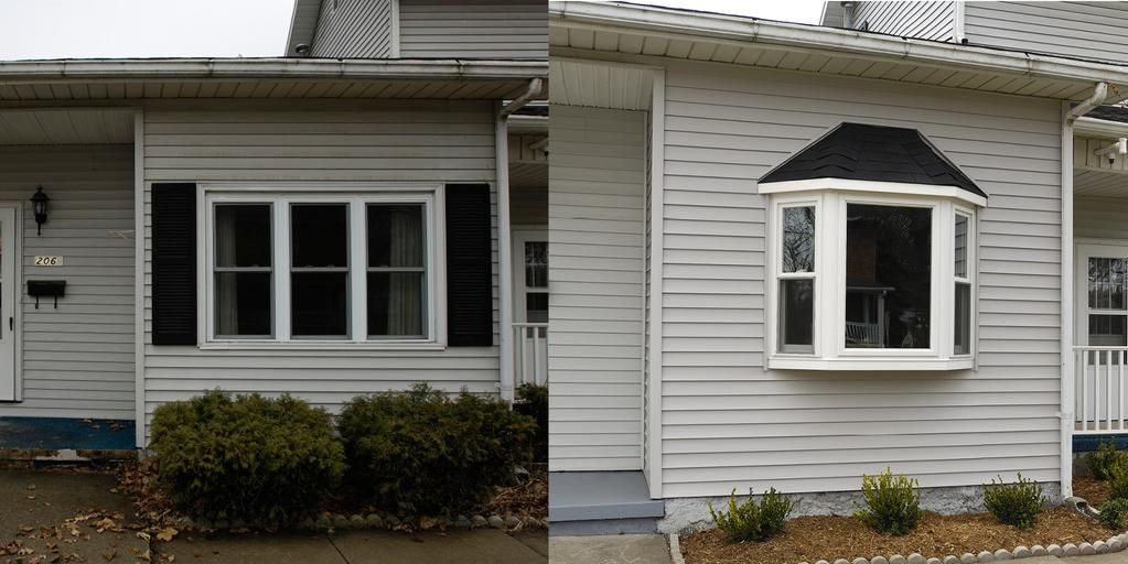 A Bay Window Adds Tons Of Curb Appeal To Your Home Just Check Out This Before And After House Exterior Green Door Windows And Patio Doors