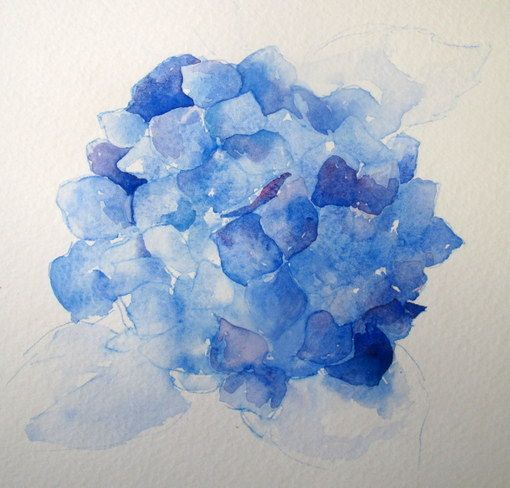 Step By Step Watercolor How To Paint A Blue Hydrangea Everyday Artist Watercolor Flowers Flower Painting Flower Art