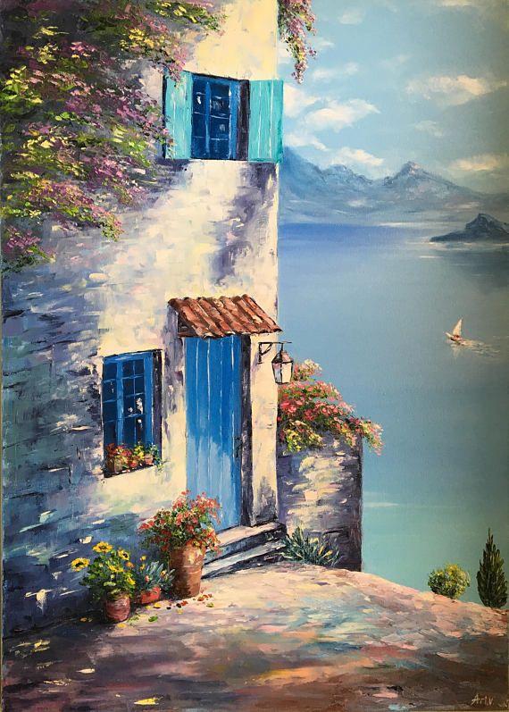 Oil Painting Landscape Nature The Mediterranean Pinturas Hermosas Pintura Al Oleo Paisajes Pinturas