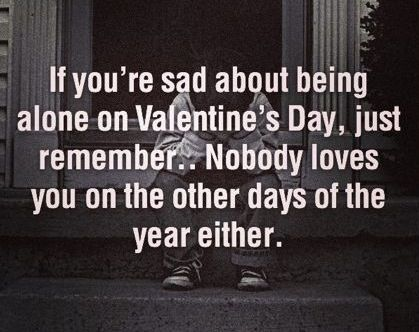 Nobody Loves You On Valentine S Day Nobody Loves You Any Other Day Funny Sarcasm Funny Valentines Day Quotes Valentines Quotes Funny Funny Quotes