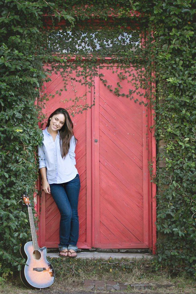 love the red door and vines and relaxed pose.  Ditch the guitar, doesn't even look like it fits with this pic