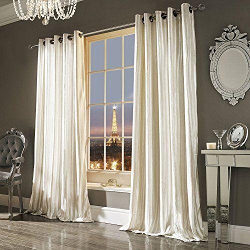 Iliana Oyster Velvet Eyelet Curtains