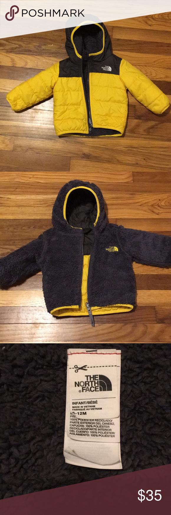 Reversible Infant Northface Kids Jacket Winter Outfits Black N Yellow [ 1740 x 580 Pixel ]
