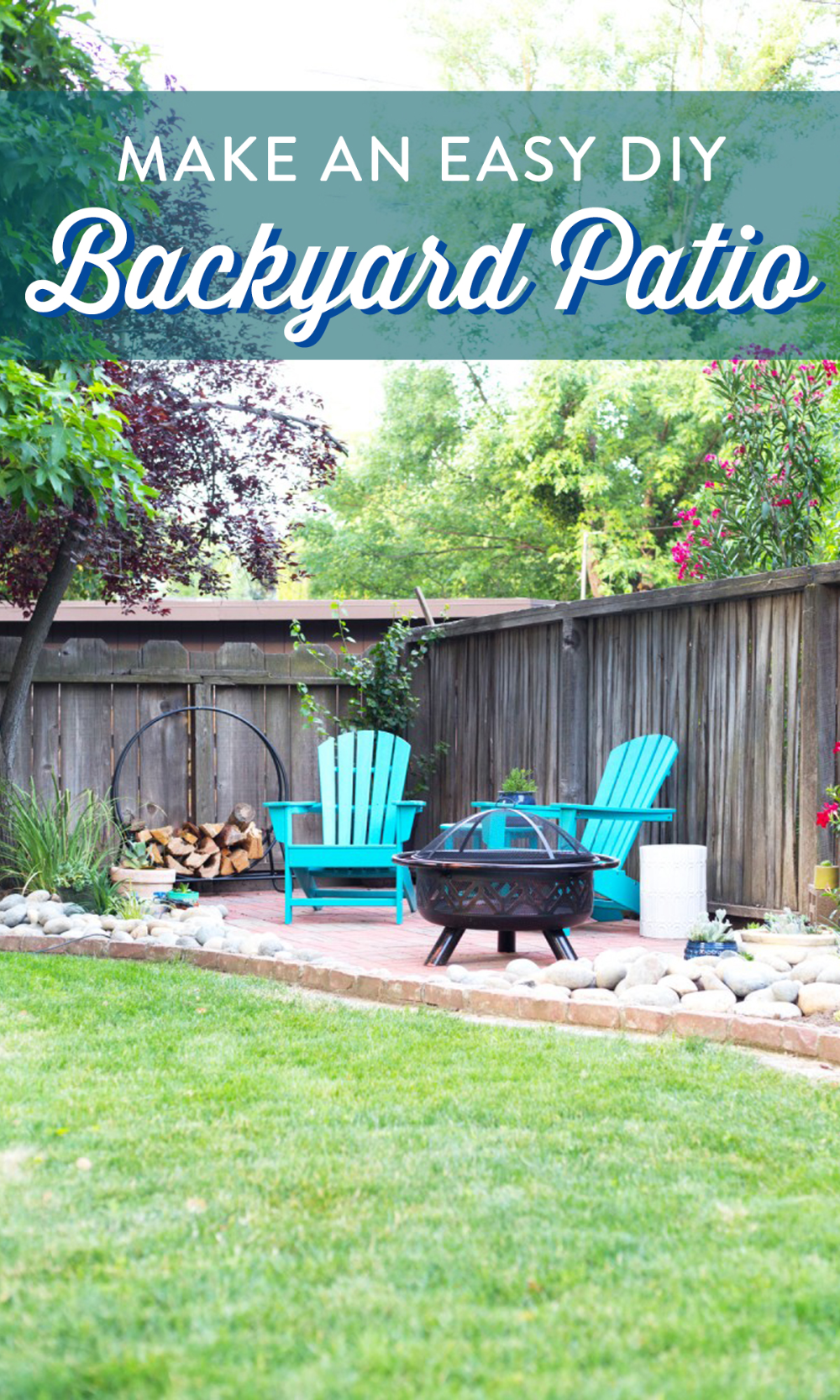DIY Backyard Patio is part of Small backyard landscaping, Diy backyard patio, Backyard makeover, Backyard landscaping designs, Backyard patio, Diy backyard - This easy DIY backyard patio is a perfect weekend project for your home! Check out the full tutorial to lay a simple brick patio and add backyard decor