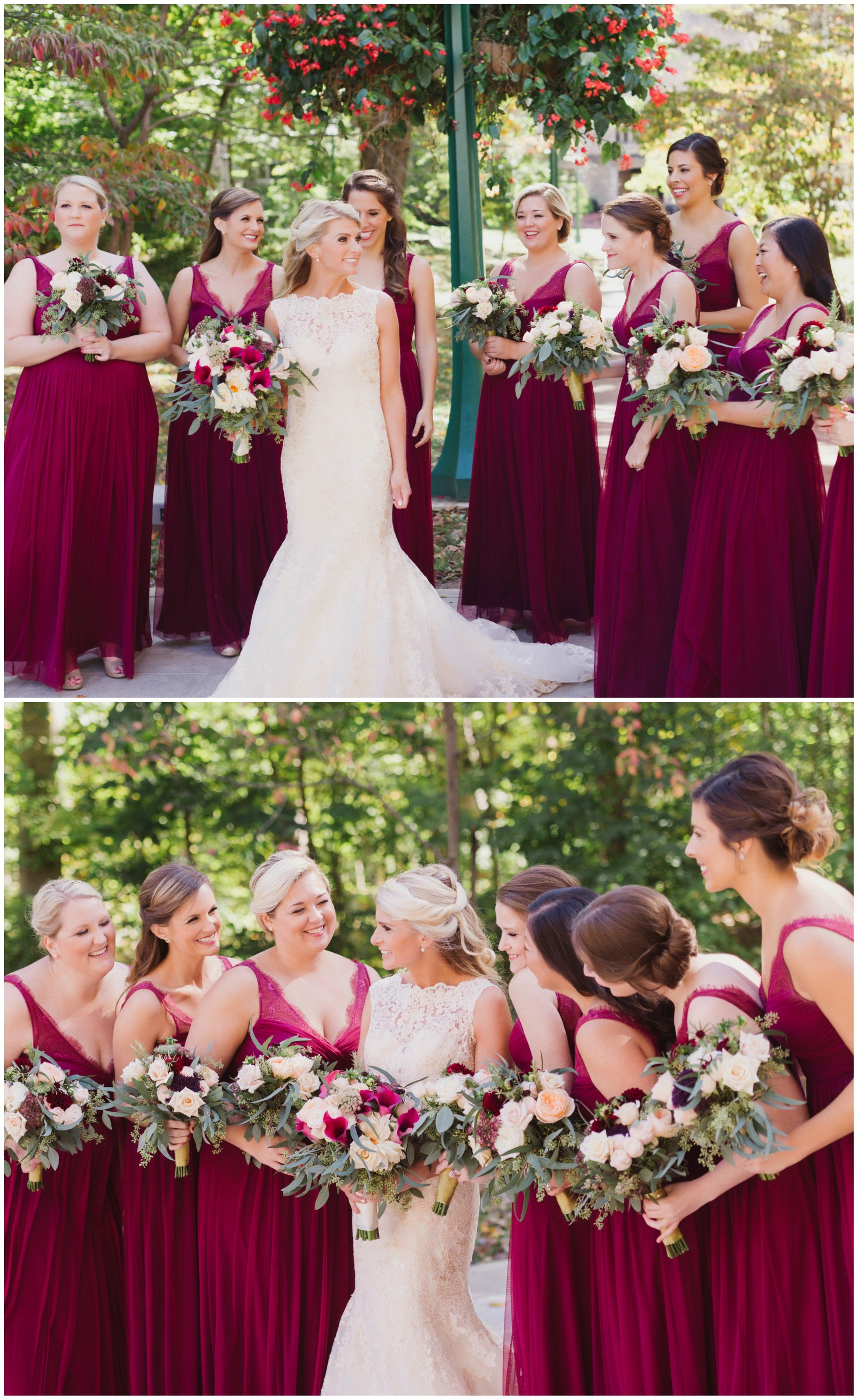 The smarter way to wed bridal parties romantic and red wedding romantic bridal party wine colored bridesmaid dresses elegant matching gowns see the full ombrellifo Images