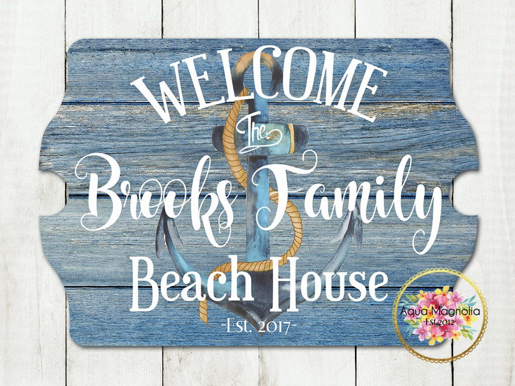 Custom House Sign Personalized Beach Lake Cottage Farm Home Decor Anchor Rustic Wood By Aquamagnolia On Etsy