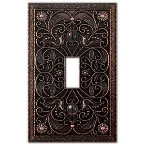 Wall Plate Light Switch Outlet Cover Arabesque Tuscan Bronze Metal