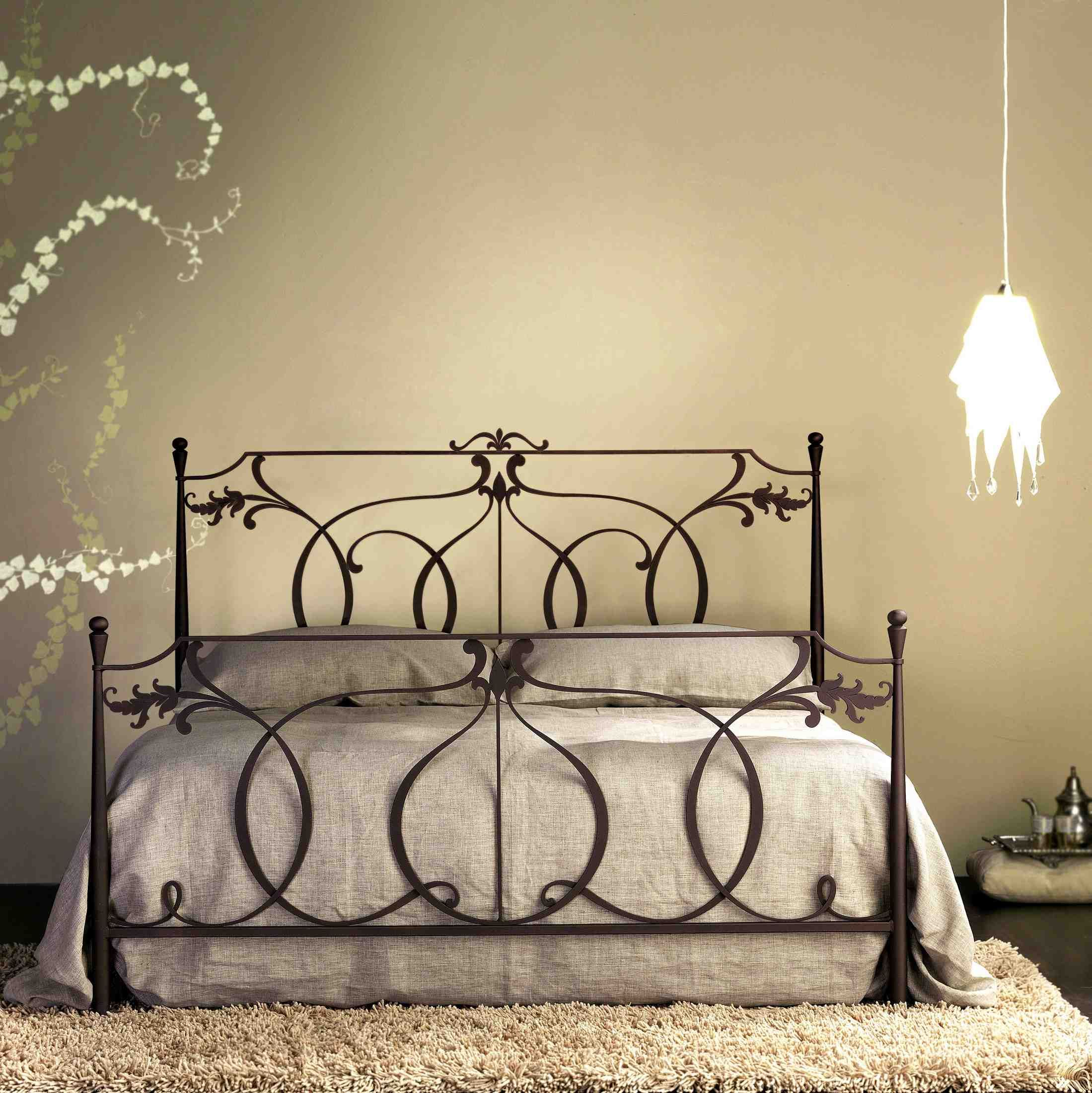 Modern Design Metal Frame Bed In White Dark Grey Dark Brown And