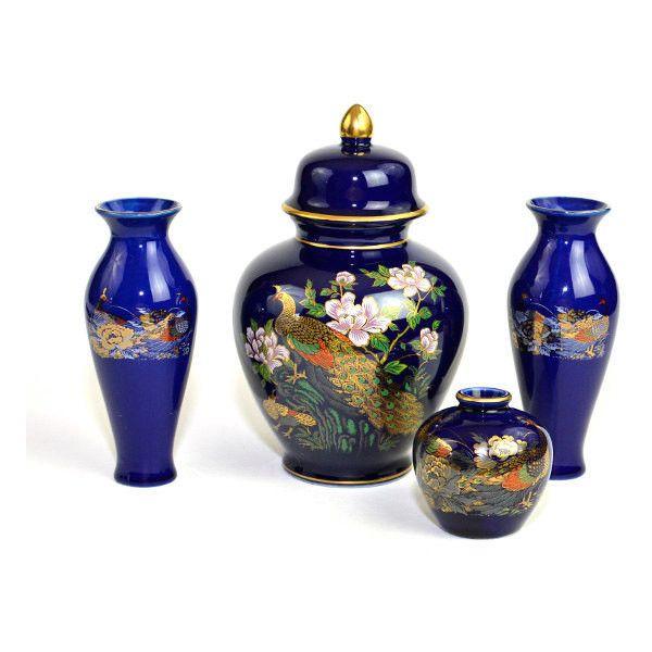 Japanese Porcelain Ginger Jar Cobalt Blue  with 2 Pheasants Floral Bamboo Gold
