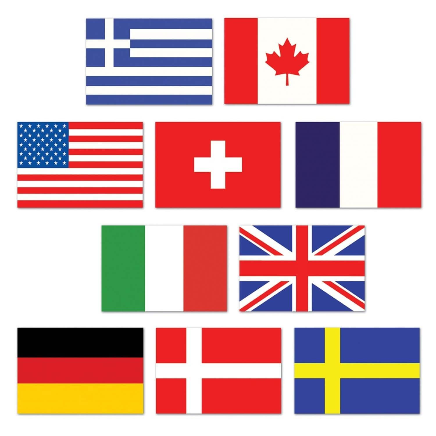 Club pack of 240 mini international flags of the world for International decor