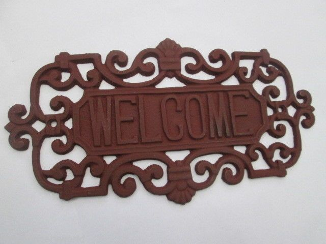 Cast Wrought Iron Welcome Decorative Plaque Sign For Door Gate Garden House