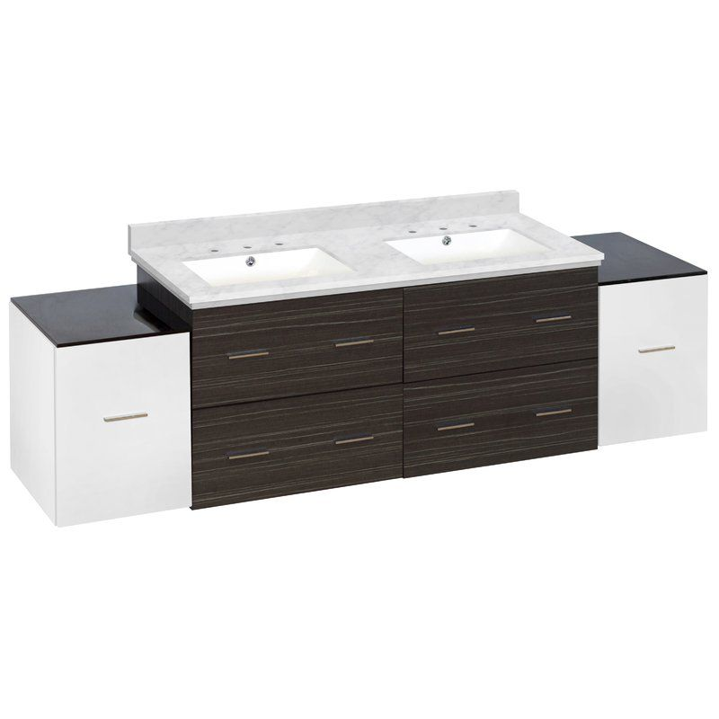 Barrs 76 Double Bathroom Vanity Set Top Finish Black Galaxy Sink Finish White Base Finish White Dawn Gray Http Bathroomvanitiespot Com Barrs 76 Double