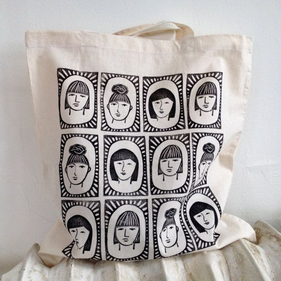 Three Sisters Block-Printed Cotton Tote Bag by RarePress on Etsy