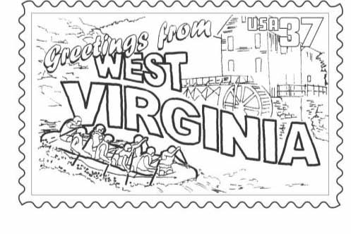 Wv Postcard Page Coloring Pages Scrapbook Printables Free