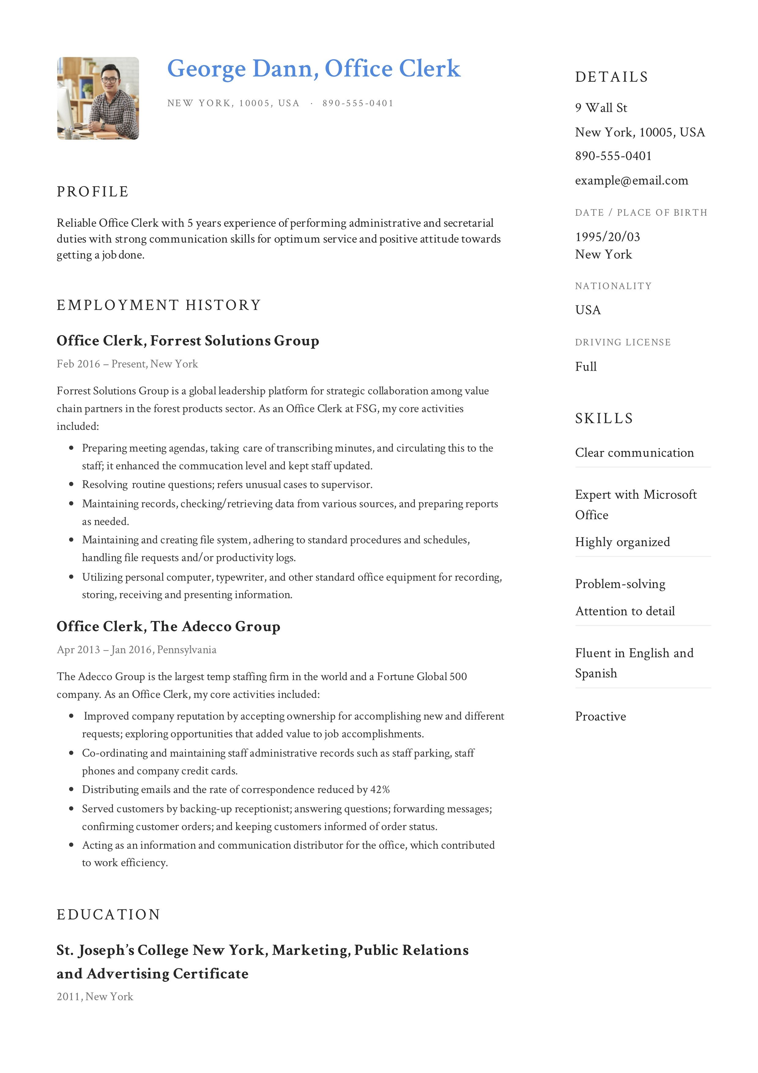 Office Clerk Resume Guide Resume Guide Resume Examples