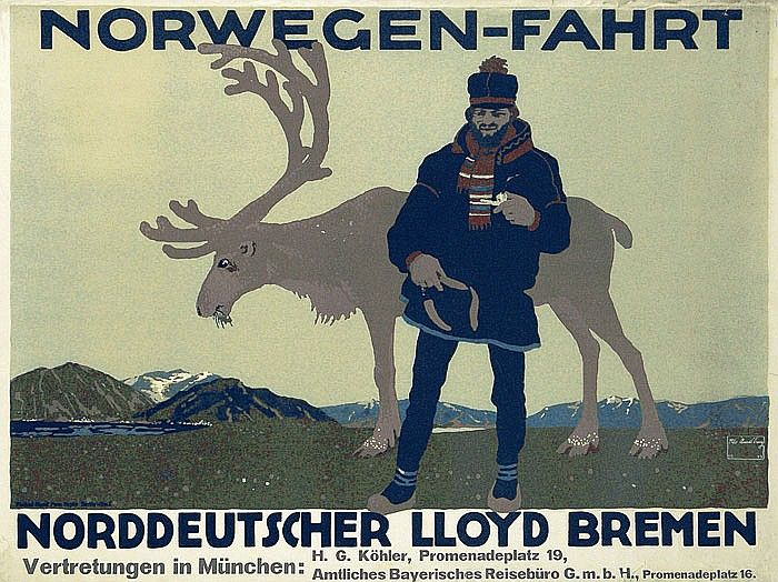 Amtsberg, Otto 1877 -. NDL - Norwegen-Fahrt. Lithographie 1913. 28.7 x 38.1 in. (73 x 97 cm) . Druck/Printer: Arno Hypke, Berlin