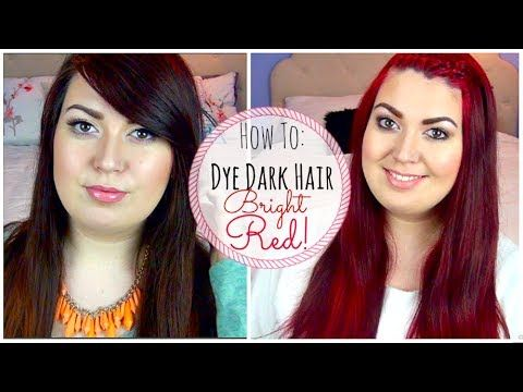 How To Dye Dark Hair Bright Red Without Bleaching! | Red ...