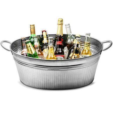 Galvanised Steel Ribbed Oval Party Tub From Bar Drinkstuff