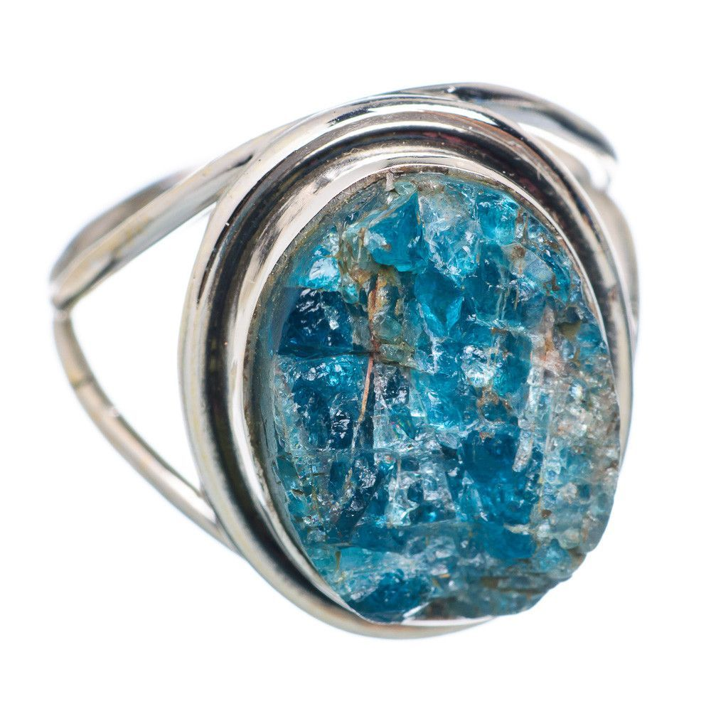 Rough apatite sterling silver ring size ring