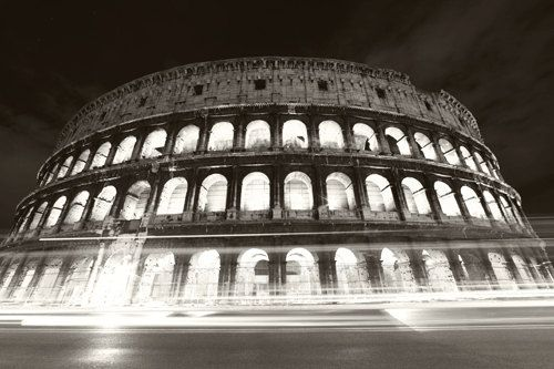 Colosseum rome 8x10 metallic print black and white night photography