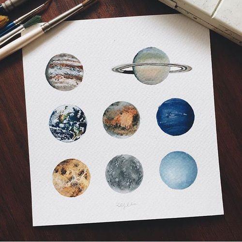 Aquarell Planeten In Der Unendlichen Galaxie Galaxie Aquarell
