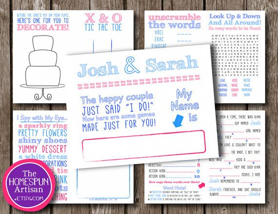 Custom Kids Wedding Activity Book Pages Printable