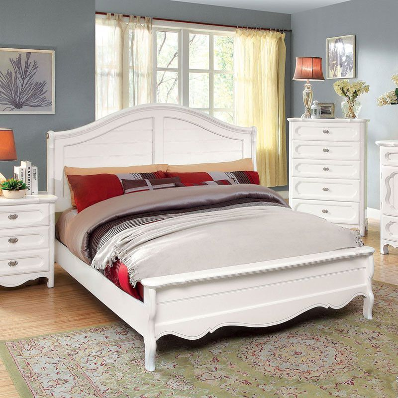 Osteria Cottage Style White Finish Bed Frame Set King Size